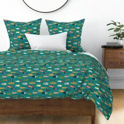 Fishing Lures Hook Aqua Green Red White Woodland Sateen Duvet Cover By Roostery