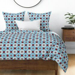 Bowling Pins Sports Red White And Blue Balls Sateen Duvet Cover By Roostery
