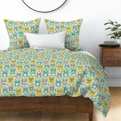Tiki Retro Cat Tropical Cute Summer Kitschy Sateen Duvet Cover By Roostery
