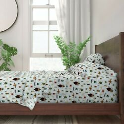Beetles And Flies Display Biological 100 Cotton Sateen Sheet Set By Roostery