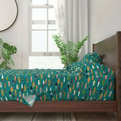 Fishing Lures Hook Aqua Green Red White 100 Cotton Sateen Sheet Set By Roostery
