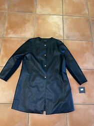 NWT Marc New York Andrew Marc Black Gold Button Faux Leather Coat Jacket Sz XL $39.99