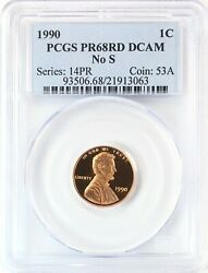 1990 No S Lincoln Head Cent Penny 1c Gem Proof Red Pcgs Pr68 Rd