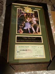 Jack Haley Tin Man Wizard Of Oz Signed Check Framed Matted Coa