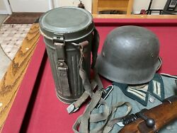 Wwii German Gas Mask And Canister Complete With Straps