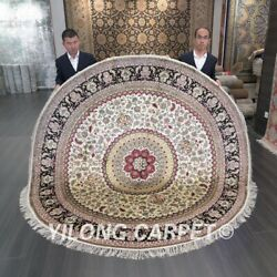 Yilong 8and039x8and039 Yellow Hand Knotted Silk Carpet Round Handwoven Area Rug 309c