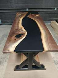 Custom Black Epoxy Wooden Walnut Dining Sofa, Center, Top Table Collectible Deco