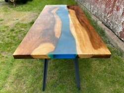 Blue Transparent Epoxy Table, Resin Dining Table, Ocean Table, Live Edge Decors