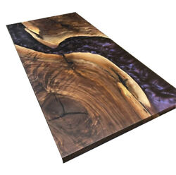 Dining Resin Purple Epoxy Resin And Wood And Hand Collected Dining Table Decors