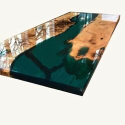 Epoxy Walnut Wooden Dining Resin Green Epoxy Olive Countertop Deco Made To Order