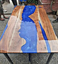 Epoxy River Coffee/dinning Table Live Edge And Blue Epoxy Wood Deco Made To Order