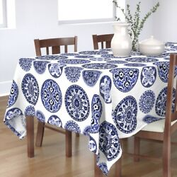 Tablecloth Plates China Tea Victorian Delft Willow Blue And Cotton Sateen