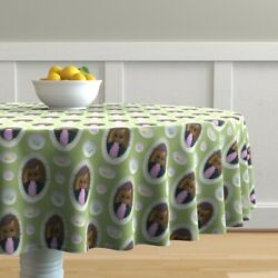 Round Tablecloth Easter Eggs Plates Rabbit Peter Cottontail Cotton Sateen