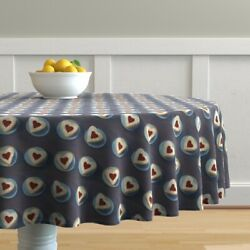 Round Tablecloth Sweet Cookie Watercolor Kitchen Decor Heart Jam Cotton Sateen