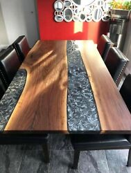 Walnut And Gray Epoxy Resins Dining Table On Request Amazing Deco Made To Order
