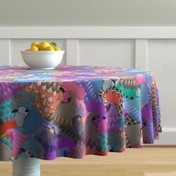 Round Tablecloth Chicken Rooster Bird Feathers Fowl State Fair Cotton Sateen
