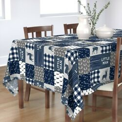 Tablecloth Hunting Antlers Buck Woodgrain Navy Woodland Rotated Cotton Sateen