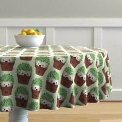 Round Tablecloth Hedgehog Cactus Cacti Hipster Pots Cute Animals Cotton Sateen