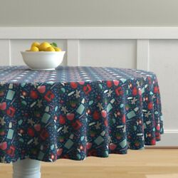 Round Tablecloth Baking Christmas Cookie Holiday Kitchen Decor Cotton Sateen