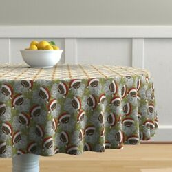Round Tablecloth Black Santa Christmas Holiday African American Cotton Sateen