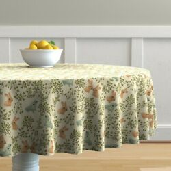 Round Tablecloth Ditzy Bunnies Sweet Easter Leaves Plants Flowers Cotton Sateen