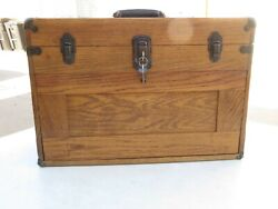 Vintage Wooden Machinist Tool Chest 7 Drawers Lock W/keys Excellent Condition