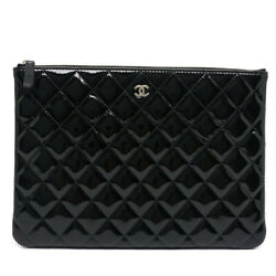 Price Used/pawn Shop Clutch Bag Matelasse Black Patent Tablet Document