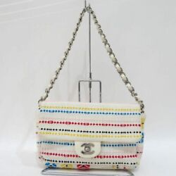 Secondhand Cotton Canvas Chain Shoulder Bag Ab Rank White System Women And039s