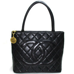 Secondhand Reprint Tote Bag Coco Mark Lambskin Black Gold Fittings A01804
