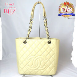 Bag Chain Shoulder Tote Caviar Skin A-rank Coco Mark Ivory System Silver