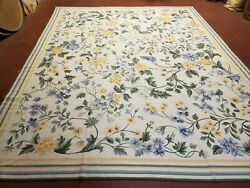 Needlepoint Carpet 8x10 Aubsson Rug New French Victorian Ivory Flowers 100 Wool