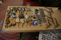 Silver Hinges Cabinet Latch Pcs Assorted Wheels And Coat Hook Lot Of 51 Pcs.