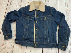 Vtg 70and039s Lee Storm Rider Sherpa Lined Denim Jacket Menand039s Sz M Made In Usa Rare