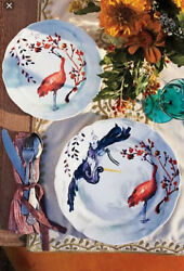 Rare 7 Piece Lot Discontinued Anthropologie Avian Canopy Dinner And Salad Plates