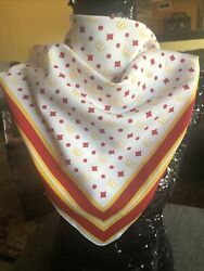 """Vtg Rare 1976 Mcdonalds Golden Arches Red/yellow Manager Uniform Scarf 28.5""""x27"""""""