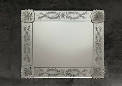 Mirror In Murano Glass Handmade And Designed By Hand With Silver Cast In Italia