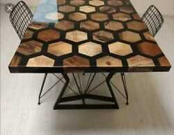 Epoxy Resin Honeycomb Hexagon Walnut Dining Table Kitchen Decors Made To Order