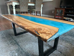 Handmade Blue Epoxy Walnut Wooden /sofa/center Dining Table Decors Made To Order