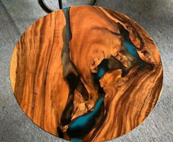 Round Transparent Epoxy Natural Wooden Design Hand Craved Coffee Top Table Decor
