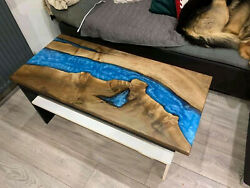 Blue Epoxy Wavy Resin Wooden Dining Table Conference Office Deco Made To Order