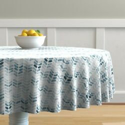 Round Tablecloth Water Textured Chevrons Painted Marks Tyre Mark Cotton Sateen