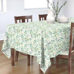 Tablecloth Greenery Botanical Mint Cream Leaves Leaf Spring Green Cotton Sateen