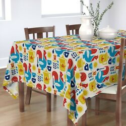 Tablecloth Morning Coffee Breakfast Rooster Mug Sun Coffe Red Cotton Sateen