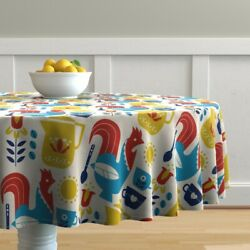 Round Tablecloth Morning Coffee Breakfast Rooster Mug Sun Coffe Cotton Sateen