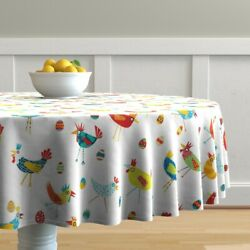 Round Tablecloth Chicken Hens Quirky Birds Rooster Eggs Happy Cotton Sateen