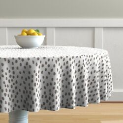 Round Tablecloth Scatter Dots Abstract Les Touches Coral Cotton Sateen