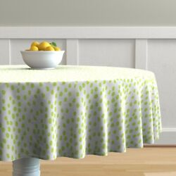 Round Tablecloth Les Touches Dots Scatter Dots Abstract Green Cotton Sateen