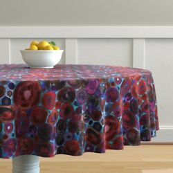 Round Tablecloth Liquid Watercolor Geode Gold Abstract Circles Cotton Sateen