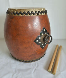32cm12.6length Japanese Old Wooden Drum Taiko With Wooden Sticks