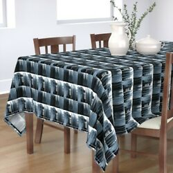 Tablecloth Painted And White Watercolor Modern Graphic Cool Colors Cotton Sateen